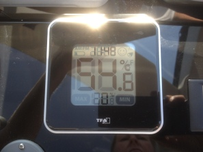 54.6ºc on the dashboard in the saloon. At 1148 we are under the direct heat of the sun.